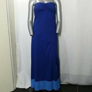 Tommy Bahama Blue Strapless Tie Back Maxi Dress XL